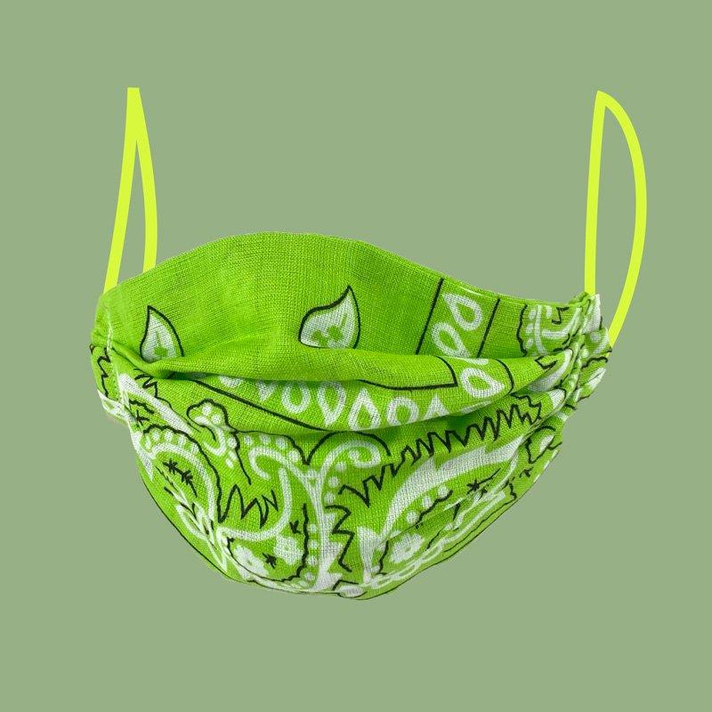 pleated face mask green bandana