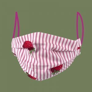 pleated face mask strawberry design
