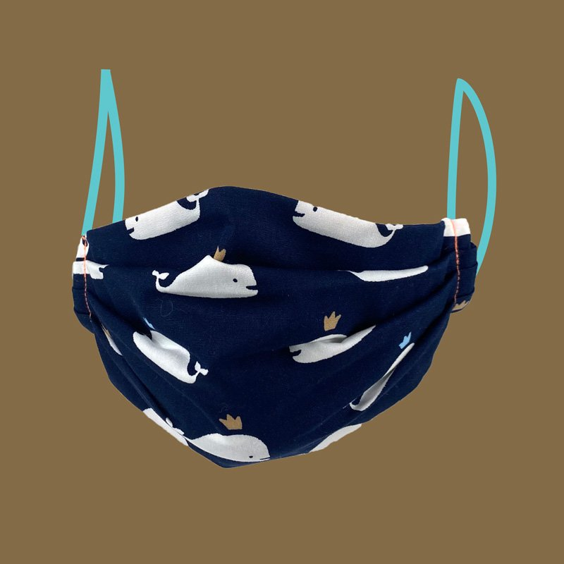 pleated face mask whale