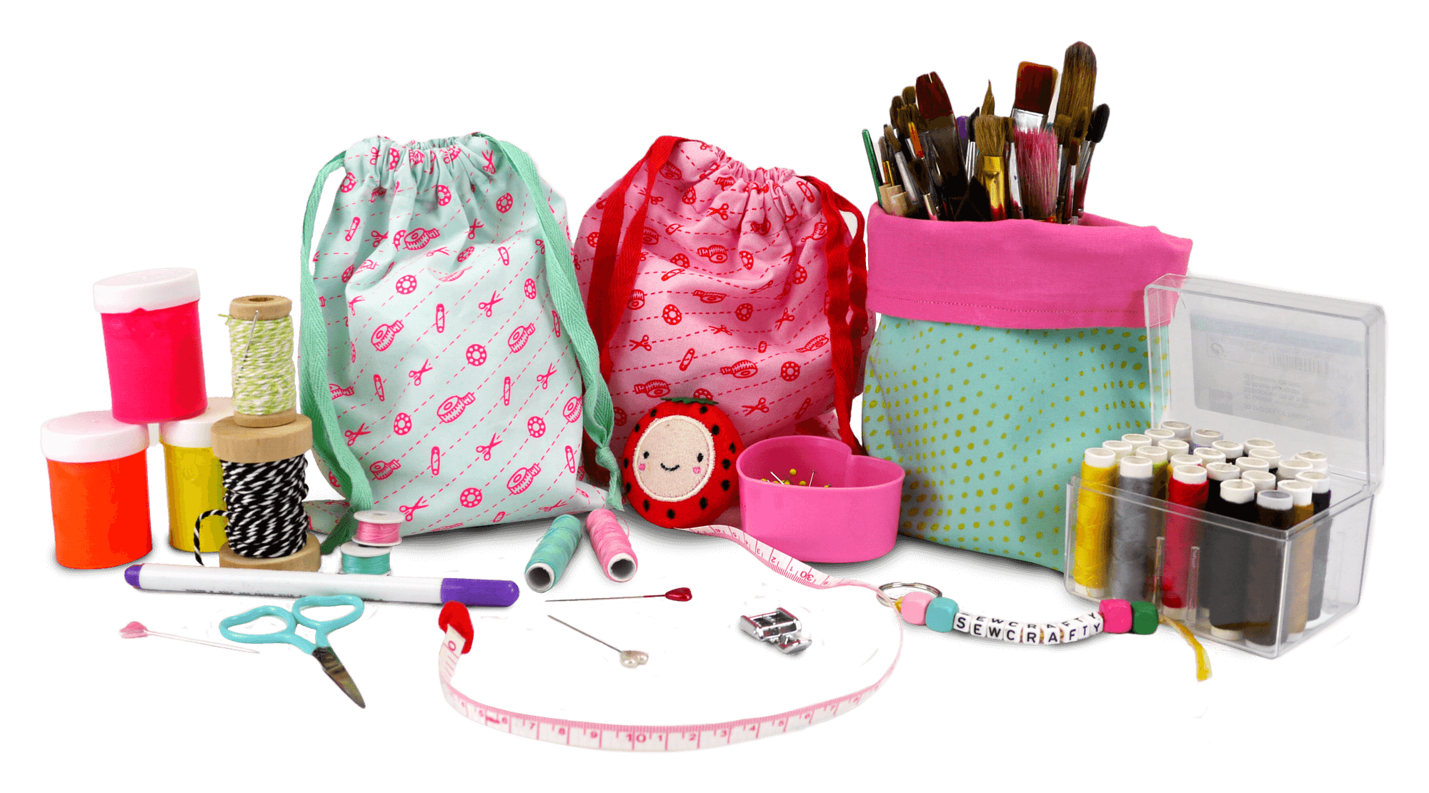 group shots of sew what products and sewing accessories